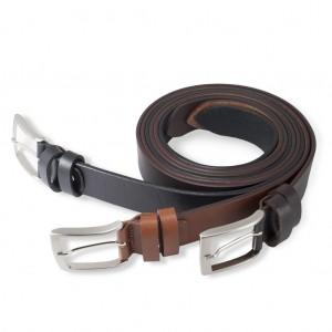 Cintura vero cuoio (nera, marrone, testa di moro) 3,5 cm